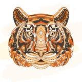 Detaljerat mönstrat huvud av tigern Etnisk stam- aztec design för afrikansk indisk totem på grungebakgrunden Det kan stock illustrationer