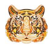 Detaljerat mönstrat huvud av tigern Etnisk stam- aztec design för afrikansk indisk totem på grungebakgrunden Det kan Royaltyfri Fotografi