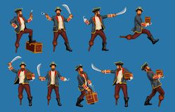 Detaljerat piratkopiera uppsättningen royaltyfri illustrationer