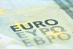 Detaljerat slut upp av en sedel för euro fem Royaltyfri Bild