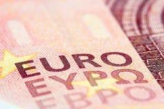 Detaljerat slut upp av ett euro tio Royaltyfri Fotografi