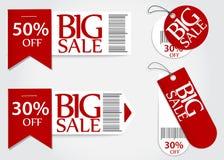 Detaljhandel för procentsats för befordran för Sale kort röd vektor illustrationer