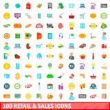 100 detaljhandel och försäljningssymboler ställde in, tecknad filmstil Royaltyfria Bilder