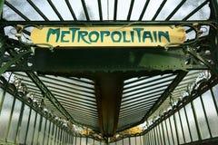 Detaljingångstunnelbana Art Nouveau Paris fotografering för bildbyråer