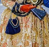 Detaljsikt av en epoquedräkt på den Venetian karnevalet Fotografering för Bildbyråer