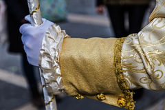 Detaljsikt av en epoquedräkt på Venetian karneval 6 Royaltyfri Bild