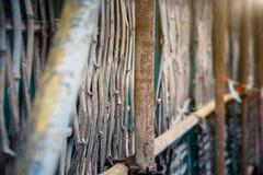Detaljskott av trästaketet Fotografering för Bildbyråer