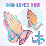 Detalló maravillosamente las manos humanas dobladas en rezo Súplica a dios Fe y esperanza Adornos religiosos Arte académico Arte  ilustración del vector