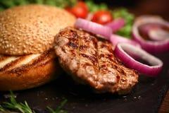 Detalla la hamburguesa Imagen de archivo libre de regalías