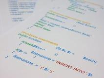 Detalladamente una línea de código fotos de archivo