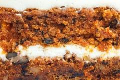 Detalle abstracto de la torta de zanahoria con helar Imagen de archivo