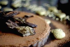 Detalle agrio del chocolate de la tarta del chocolate en el fondo blanco chocolate pie Fotografía de archivo libre de regalías