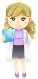Detalle altamente al doctor de sexo femenino del médico de la historieta del ejemplo en wh Imagenes de archivo