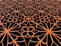 detalle anaranjado ornamental 3d en negro Fotografía de archivo