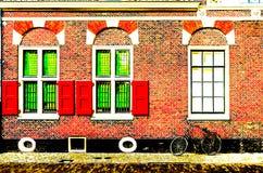 Detalle arquitectónico en Alkmaar, ejemplo colorido ilustración del vector