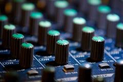 Detalle audio del mezclador imagen de archivo