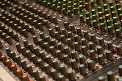 Detalle audio del mezclador foto de archivo