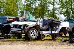 Detalle auto del depósito de chatarra de la colisión Foto de archivo libre de regalías