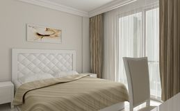 detalle blanco del diseño del dormitorio 3d libre illustration