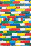 Detalle coloreado brillantemente pintado de la pared exterior, Burano, Venecia, Fotos de archivo