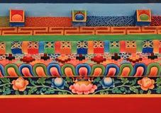 Detalle colorido de la fachada monastry en Shyapru Bensi, Nepal beau imagen de archivo libre de regalías