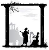 Detalle - columna iónica griega fotos de archivo