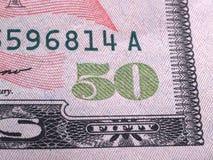 Detalle de 50 dólares Imagen de archivo libre de regalías
