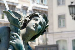 Detalle de bronce central de la estatua de Lisboa Fotos de archivo