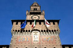 Detalle de Castello Sforzesco fotografía de archivo