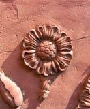 Detalle de cerámica de la flor de Taj Mahal en Agra, la India Imagenes de archivo