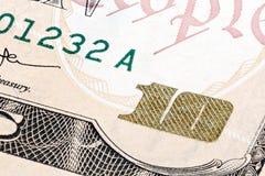 Detalle de 10 dólares de cuenta Tiro macro extremo Fotografía de archivo