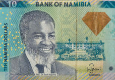 Detalle de 10 dólares namibianos de billete de banco Imagen de archivo libre de regalías