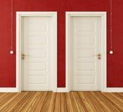 Detalle de dos puertas blancas stock de ilustración