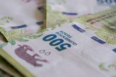 Detalle de 500 de la Argentina cuentas de los Pesos Foto de archivo libre de regalías