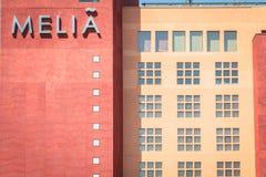 Detalle de la arquitectura del hotel de lujo del MELIA Foto de archivo libre de regalías