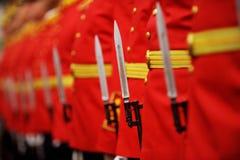 Detalle de la bayoneta durante desfile militar imagen de archivo