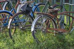 Detalle de la bicicleta y del estante Foto de archivo
