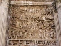 Detalle de la cara del arco de Septimius Severus Imagenes de archivo