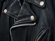 Detalle de la chaqueta de cuero Foto de archivo