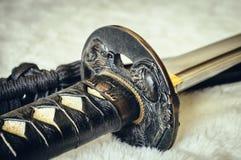 Detalle de la espada de Katana Imágenes de archivo libres de regalías