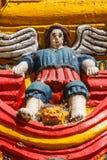 Detalle de la fachada de la iglesia en la ciudad de San Andres Xecul Foto de archivo libre de regalías