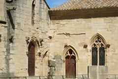 Detalle de la fachada de Santa Maria de Poblet Monastery Foto de archivo