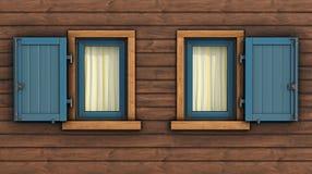 Detalle de la fachada de una casa de madera libre illustration