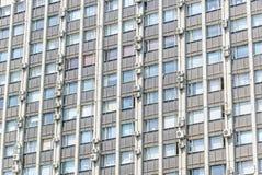 Detalle de la fachada del edificio del instituto de investigación científica Teplopribor en Prospekt Mira Imagenes de archivo