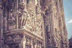 Detalle de la fachada de Milan Cathedral Imagen de archivo