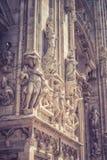 Detalle de la fachada de Milan Cathedral Fotografía de archivo libre de regalías