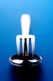 Detalle de la fork y de la cuchara Fotografía de archivo