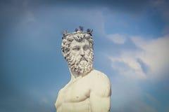 Detalle de la fuente de Neptuno en Florencia fotografía de archivo