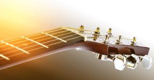 Detalle de la guitarra acústica con la profundidad del campo baja Imágenes de archivo libres de regalías