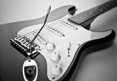 Detalle de la guitarra eléctrica Imagen de archivo libre de regalías